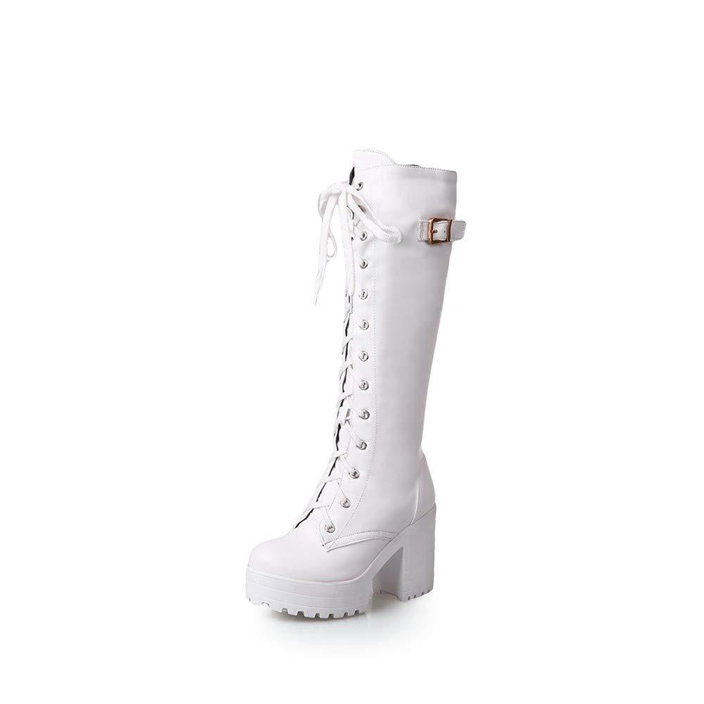 HAOLIEQUAN High Heels Damen Plateau Winter Damenschuhe Snow Stiefel Femal Weiß 6