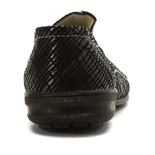 Bernie Mev Womens Pam Mocassins Chaussures Noir Imprimé Buck
