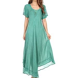 Sakkas 16603 - Egan Long Embroidered Caftan Dress/Cover Up With Embroidered Cap Sleeves - Aqua - OS