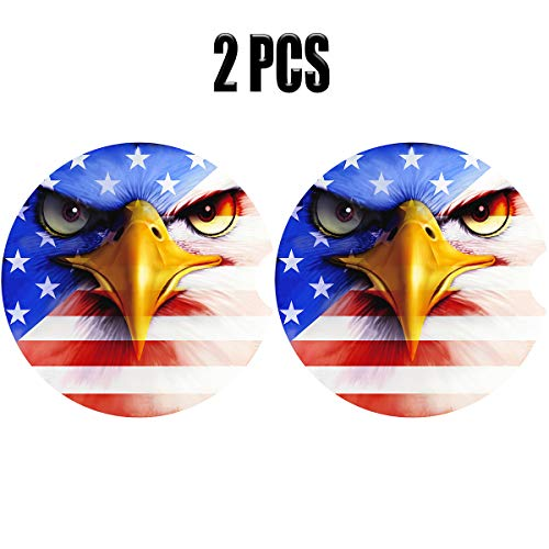 US Flag Car Coasters Pack of 2,Absorbent Stoneware Coasters for Car,Ceramic Auto Coasters for Drinks,Car Accessories Absorb Water Drops to Keep Your Car Cup Holders Clean and Dry (Eagle & Flag)