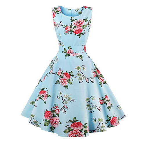 LaceLady BoatNeck Vintage Sleeveless Tea Dress with Belt Pleated Swing Party Royal M ()