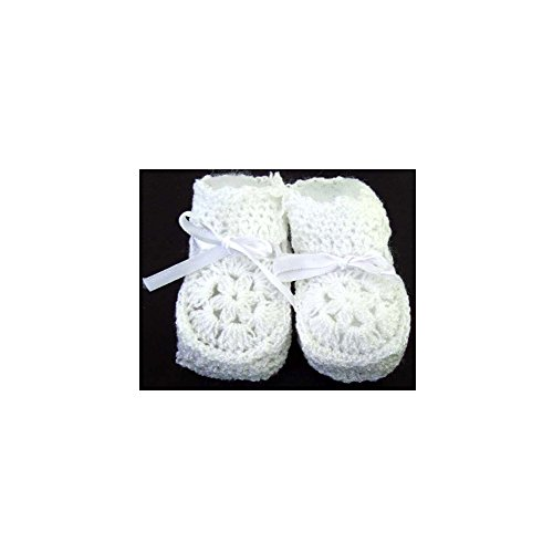 Knitted Crochet Booties - Newborn Size - Baby Goods 12 Pairs Pack White Color (00215W Z) (Knitted Booties)