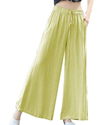 Worclub Pantaloni larghi in lino cotone donna Giallo