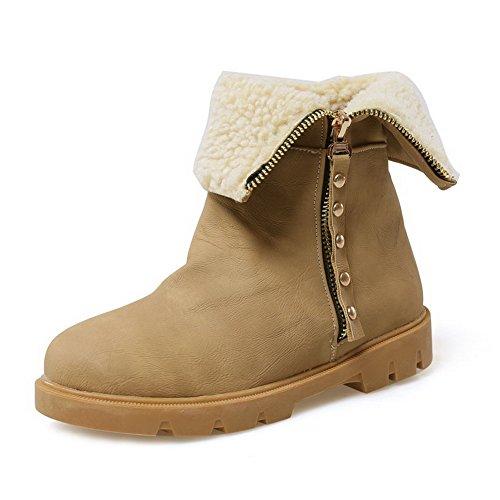 Allhqfashion geschlossene Zehe Reißverschluss Frauen PU Stiefel Low runde Low Top Heels Gelb aFRHpaqx