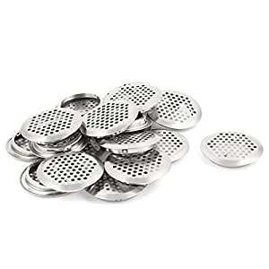 uxcell Round Panel Shoes Cabinet Air Vent Louver Cover 53mm Bottom Dia 20pcs