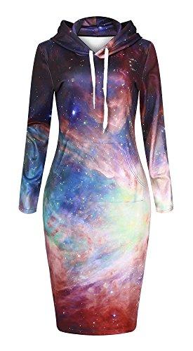 QZUnique Women's 3D Galaxy Print Pullover Hoodie Long Length Fleece Sweat Dress US S-M