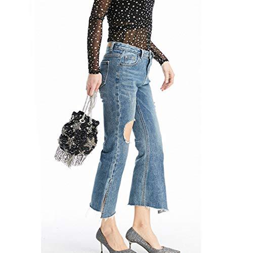 Genou Jeans HANMAX en Denim vas Irrgulier Casual Bleu Pantalons Mode Trou au Fendu Femme Pants Slim Sq1UFapC