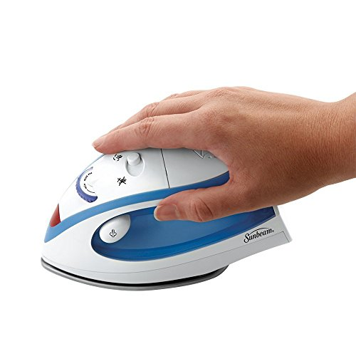 New Sunbeam GCSBTR 100 Travel Iron Mini Electric Compact Dual Voltage Steam, The non-stick soleplate glides across fabric to make ironing on the road fast and easy.