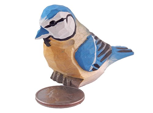 Hand Carved Miniature (Blue Jay - Miniature Hand-Painted Wooden Bird Vintage Art Decoy Mini Carved Ornament Figurine Small Animals Collectible)