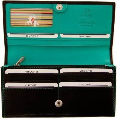 Visconti Cd21 Quality Soft Leather Wallet / Purse / Clutch / Holder (Black/Aqua-Blue), Bags Central