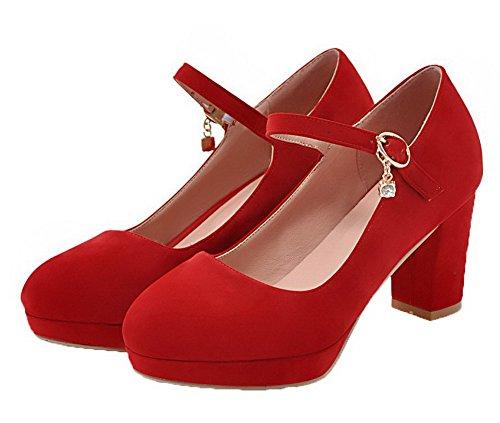 Moolarmi Talon Rond à Suédé Boucle Rouge Femme Légeres Haut Chaussures IFwxWrIqnf