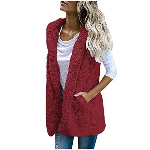 iYYVV Womens Vest Winter Warm Hoodie Casual Wool Coat Faux Fur Zip Up Sherpa Jacket Wine