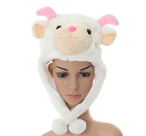 JOYHY Unisex Winter Plush Ear Flap Animal Hats Pink Horn White Sheep