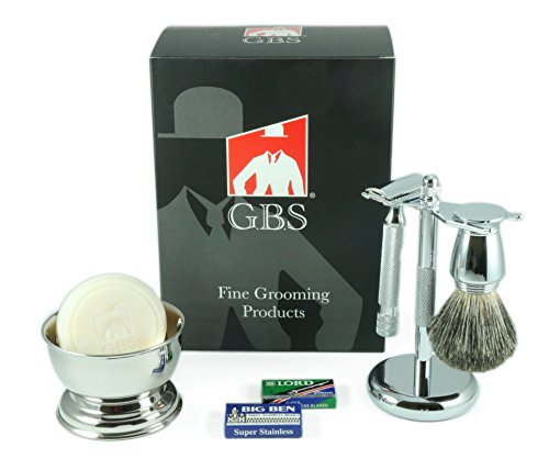 (GBS Men's premium Wet Grooming Shaving Set - Gift Boxed - Heavy Duty Traditional Handle Double Edge Safety Razor, Pure Badger Bristle Brush & Razor Stand, Bowl with Soap + Free Blades included!)