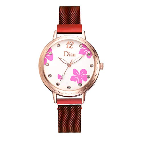 Sodoop Women Floral Watches, Fashion Simple Ladies Crystal Frosted Disc Digital Stainless Steel Breathable Mesh Strap Quartz Wristwatch for Girl Womens