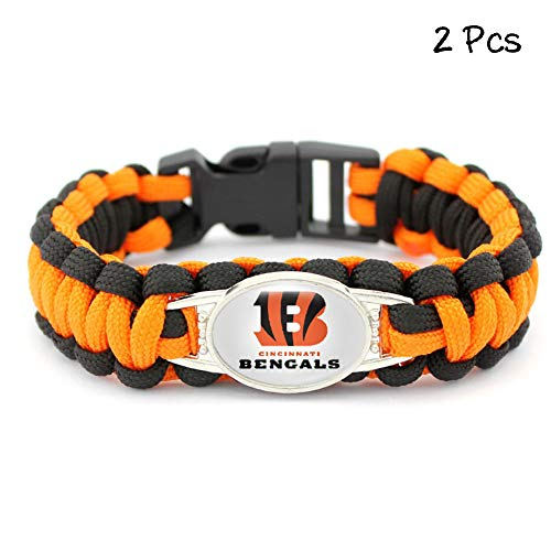 FANwenfeng Outdoor Football Team Badge Bracelet Survival Tactical Braided Parachute Cord Weave Wristband for Football Team Fans 2 Pcs (Cincinnati Bengals)