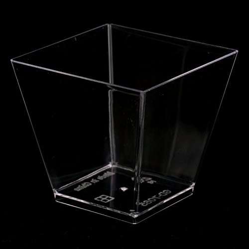 Tosnail 6.5 Oz Capacity Square Clear Plastic Dessert Tumbler Cups - 40 Pack by Tosnail (Image #3)