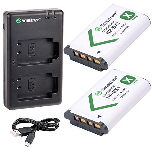 Smatree Replacement Battery(2-Pack) and Charger Compatible for Sony NP-BX1 / M8 / Cyber-Shot DSC-RX100 HDR-CX405