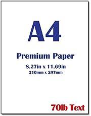 "Premium A4 (8.3""x 11.7"") Printer Paper - 28lb Bond / 70lb Text (105 gsm) Bright White Paper (40 Sheets)"
