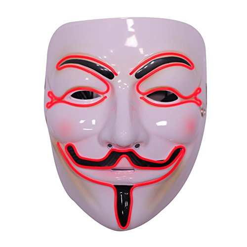 Emazing Lights Guy Fawkes for Vendetta Light Up Mask, Red