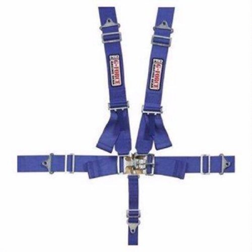 G-Force 6000BU Blue 5-Point Pull-Down Latch and Link Individual Shoulder Harness Set