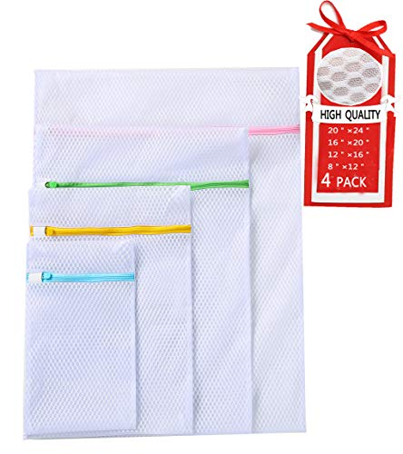 Mesh Laundry Bags,Laundry Bags,Lingerie Bags for Laundry,Washing Machine and Dryer Safe,Full Upgrade,Clothing Washing Bags for Baby Clothes, Bras, Hosiery, Lingerie,Socks,Travel,Pack of 4(White) best to buy