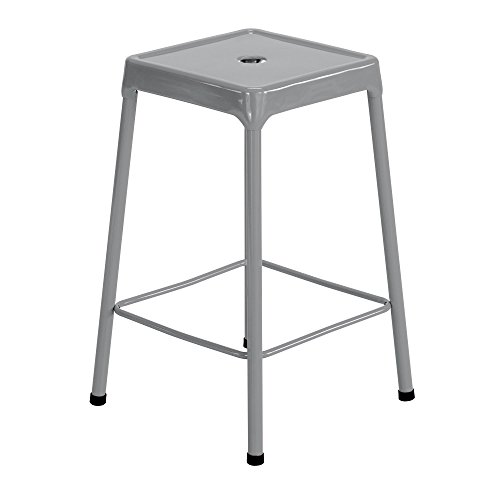 Safco Products 6604SL Steel Stool Standard Height, Silver