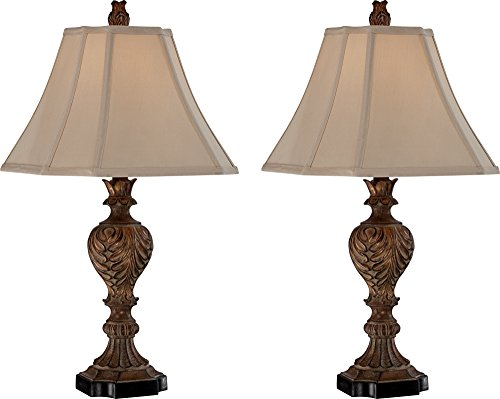 Regio Carved Brown Table Lamp Set of 2 (Touch Lamps Set Of Two)