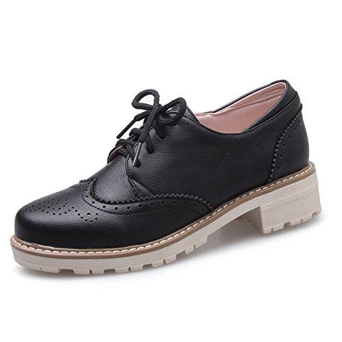 Viento británico estaba bajo zapatos con tacones gruesos/vintage tallado con zapatos profunda A