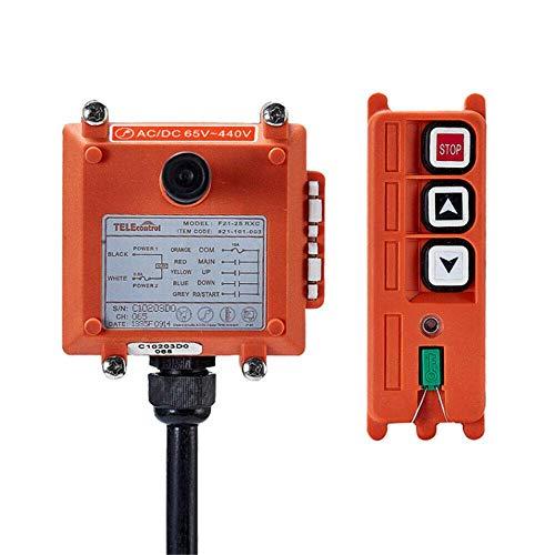 Hoist Crane Industrial Radio Remote Control Wireless Transmitter Stop Button 2 Key Switch F21-2S (1 Transmitter+1 Receiver) (F21-2S AC/DC 65V-440V)