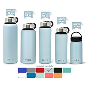 MIRA 22 Oz Stainless Steel Vacuum Insulated Wide Mouth Water Bottle with 2 Caps | Thermos Keeps Cold for 24 hours, Hot for 12 hours | Double Walled Powder Coated Travel Flask | Pearl Blue