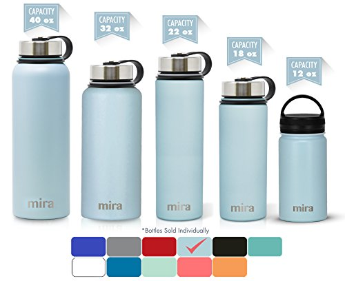 MIRA 12 Oz Stainless Steel Vacuum Insulated Wide Mouth Water Bottle with 2 Caps | Thermos Keeps Cold for 24 hours, Hot for 12 hours | Double Walled Powder Coated Travel Flask | Pearl Blue