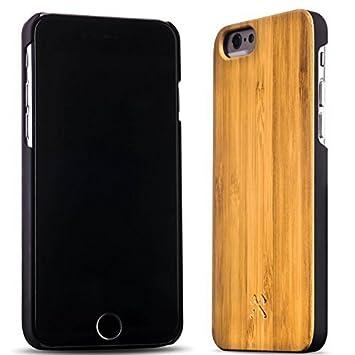 Woodcessories – Carcasa, Funda Compatible con iPhone 6 / 6S, de Madera Real, EcoCase Classic (Bambú/Negro)