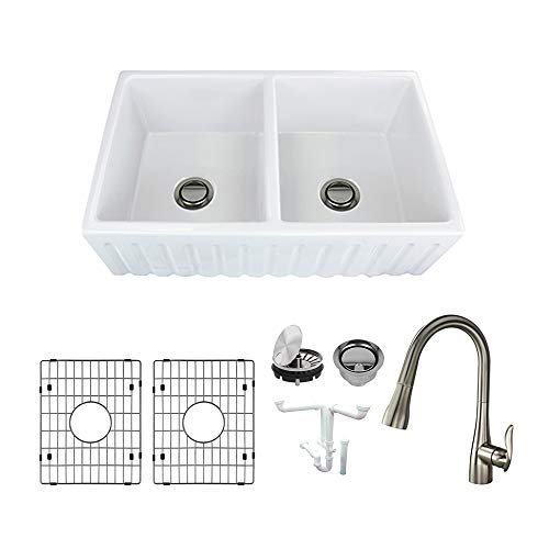 Transolid KF-FUDF332010 Logan Fireclay Undermount Reversible Fluted/Plain Equal Double Bowls Farmhouse Kitchen Sink Kit, Including Faucet 32.67