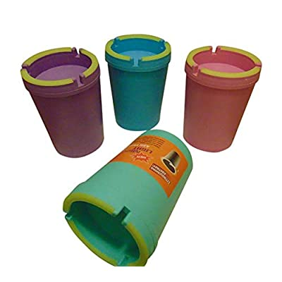 car products H Ashtray - STUB Out Glow in The Dark Cup - SELF EXTINGUISHING Cigarette Ashtray - Butt Bucket - Portable Ashtray (Purple Blue Green Pink, 1): Automotive