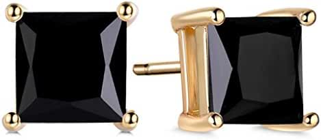 GULICX Yellow Gold Tone Black Cubic Zirconia Well-Liked Stylish Women Girl Stud Earrings