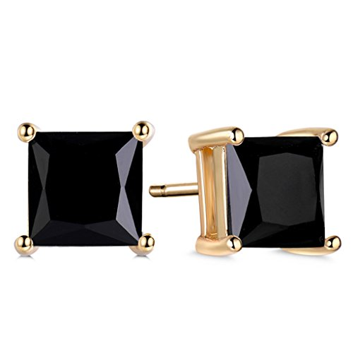 GULICX Yellow Gold Tone Black Cubic Zirconia Well-Liked Stylish Stud Earrings