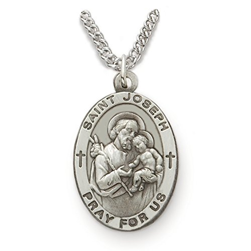 TrueFaithJewelry Customizable Sterling Silver Oval Saint Joseph Patron of Fathers Medal, 7/8 Inch, Includes Personalization