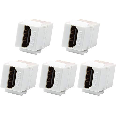 (VICTEK 5-Pack HDMI Keystone Female to Female Coupler Snap-in for Wall Plate - White)