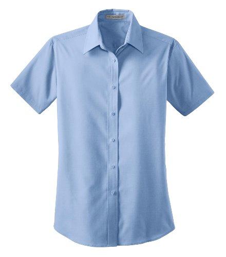 Port Authority Ladies Short Sleeve Value Poplin Shirt Light Blue L633 (Value Poplin Shirt)
