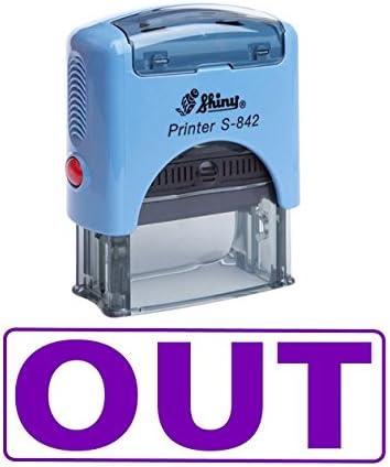 OUT Zelf Inking Rubber Stempel Office Stationaire Aangepaste Glanzende Stempel Violet Ink