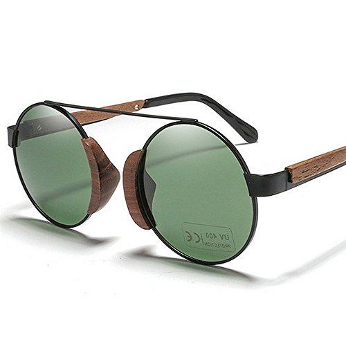 Hombres de Gafas metálico polarizadas sol Retro Gafas la de redondo de de protección sol de marco madera sol de de Gafas unisex UV Classic Verde de conduc Gafas sol mujeres para vendimia sol de las gafas de qqU4wxa7