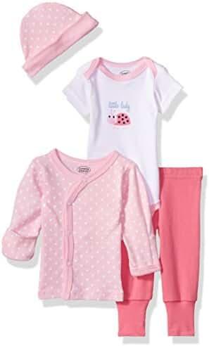 Luvable Friends Baby Preemie 4 Piece Pant, Bodysuit, Shirt, Cap Set