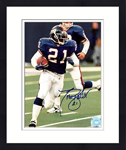 Tiki Barber autographed 8x10 photo (New York Giants, All Time Leading Rusher) #17 Matted & Framed ()