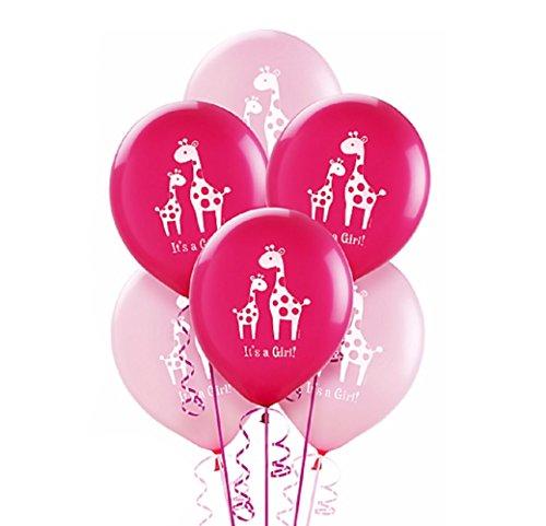 Amscan Sweet Safari Girl Printed Latex Balloons (Pack of 15), Pink