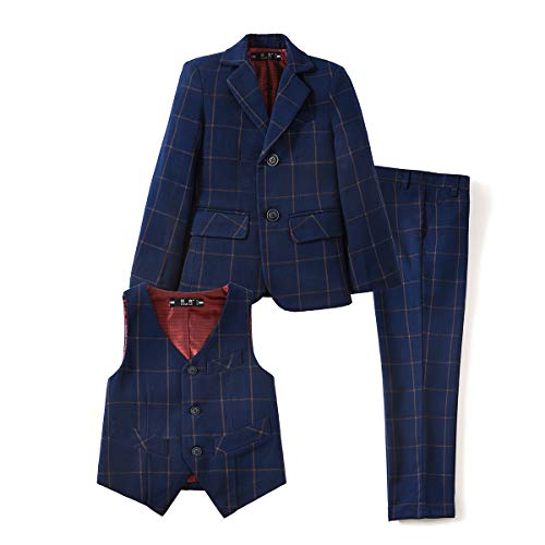 YuanLu Kids Formal Tuxedo Suits Boys Blazer Vest and Pants Set Plaid Navy Size 12