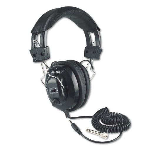 Mono Headphone Replaceable Coiled Cord - Amplivox SL1002 Deluxe Stereo Leatherette Headphones with Mono Volume Control