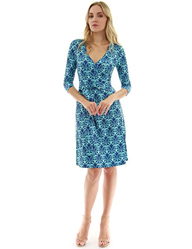 PattyBoutik Women Faux Wrap A Line Dress (Turquoise and Navy Blue 14 Medium)