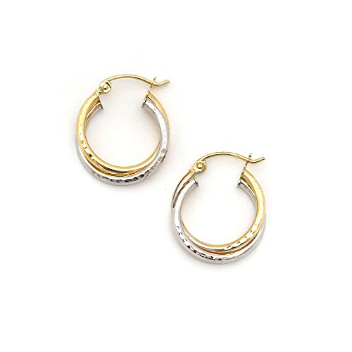 14k White and Yellow Gold 3mm Two-Tone Hammered Double Row Hoop Earrings - 0.7