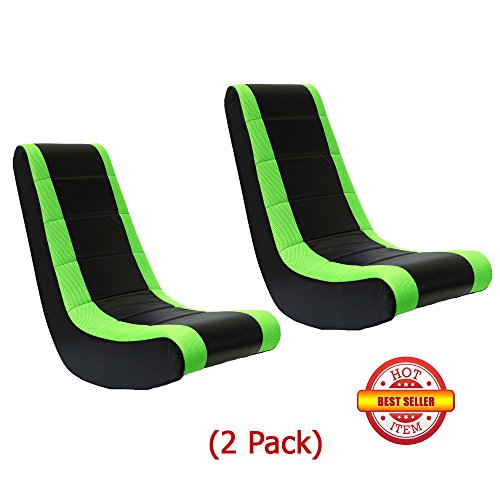 (2 Pack) Video Game Rocker Sanford Mesh Racing Stripe Neon Green For Kids,Teens,Adults Boys Or Girls Seat Vinyl For Games,Tv Room 17W x 15.5D x 39H in.